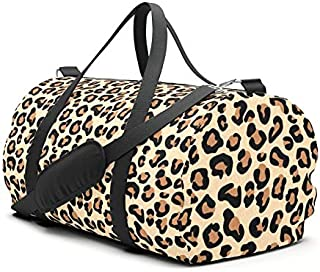 Leopard Print, Black, Brown, Rust and Tan Travel Sport Barrel Duffle Bag