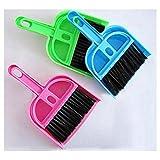 Teclado de Escritorio Barrer Cepillo de Limpieza Escoba pequeña Recogedor de plástico Herramientas de Limpieza de plástico Mini Pala Set Cepillo de computadora (Azul, Rosa, Verde) ESjasnyfall