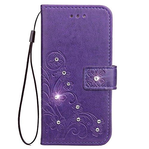 Lomogo iPhone 8/7/iPhone SE 2020 Hülle Leder, Schutzhülle Brieftasche mit Kartenfach Klappbar Magnetisch Stoßfest Handyhülle Case für Apple iPhone7/iPhone8 - LOSDA080027 Purple