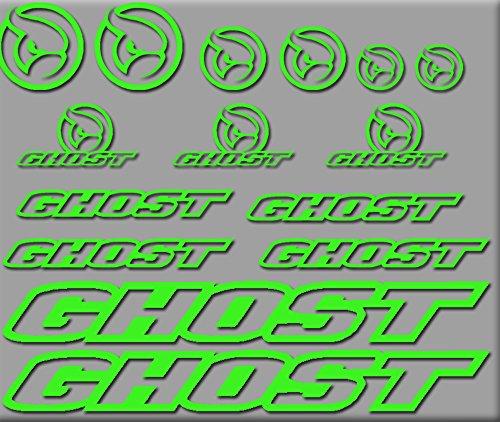 Ecoshirt 5M-FMSX-K359 Pegatinas Ghost Bici R207 Stickers Aufkleber Decals Autocollants Adesivi, Verde