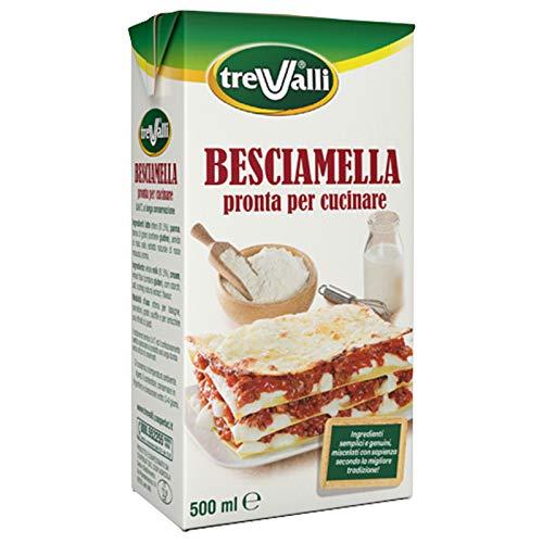 Trevalli Besciamella U.H.T langlebige Klassisches Italienisches Bechamel Sauce bereit zum Kochen 500ml natürliche Zutaten