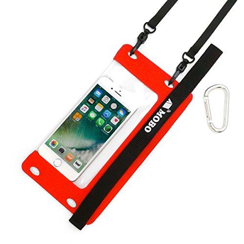 スマホ防水ケース IPX8防水 サコッシュのように肩掛け 丈夫なハンドストラップ (カラビナ/ネックストラップ付き) アウトドア ・ フェス ・ お風呂 で スマホが使える iPhoneXSに「 ウォータースポーツモバイルバッグ 」 (レッド)