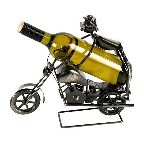 Roomando Weinflaschenhalter Flaschenhalter Flaschenständer Stunt-Motorradfahrer für eine Flasche Figur Metall Silber