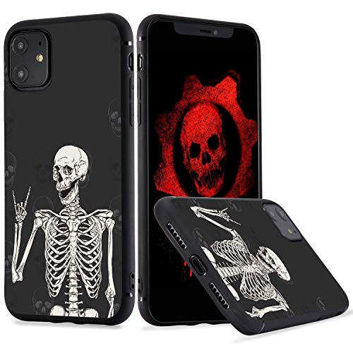 LuGeKe Skeleton Phone Case for iPhone 7 Plus/iPhone 8 Plus, Smile Skull Patterned Boys Design Case Cover,Sofr TPU Anti-Stratch Bumper Protective Cool Boys Phonecase(Gothic Skeleton)