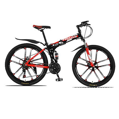 ZWPY 26-Inch Bike, 21-Speed Disc Brake Mountain Bike, Suitable from 160-185 cm, Fork Suspension, MTB(Red Black)