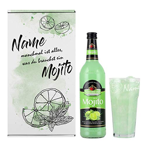 Herz & Heim® Mojito Geschenkset mit Cocktail und graviertem Cocktailglas in Geschenkverpackung