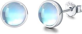 Earrings for Sensitive Ears Synthetic Moonstone Earrings Round Earrings Sterling Silver Stud Earrings for Women