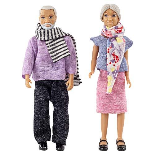 Lundby 60-806700 - Biegepuppen für Puppenhaus - Figuren Grosseltern - 2-teilig - Puppenhauszubehör - Kunststoff-Puppen mit ausziehbarer Kleidung - Oma & Opa - Zubehör - ab 3 Jahre - Minipuppen 1:18