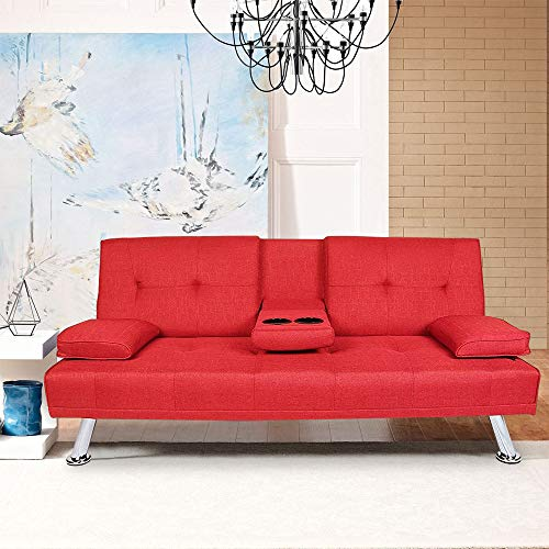 MOOSENG Home Futon Sofa Bed Modern Faux Linen Fabric Up and Down Recliner Couch, Red