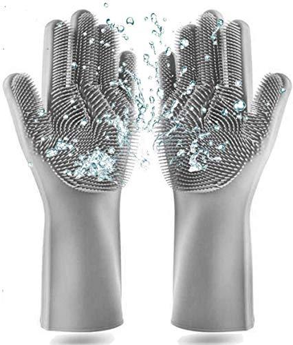 Premium Geschirrspülhandschuhe mit Bürste aus Silikon (Grau) - Ideale Silikon Handschuhe zur Reinigung des Geschirrs dank Noppen Oberfläche