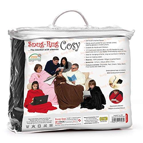 Snug Rug Cosy Tappeto aderente accogliente, coperta in pile con maniche e un pratico marsupio Pocket-nero Black