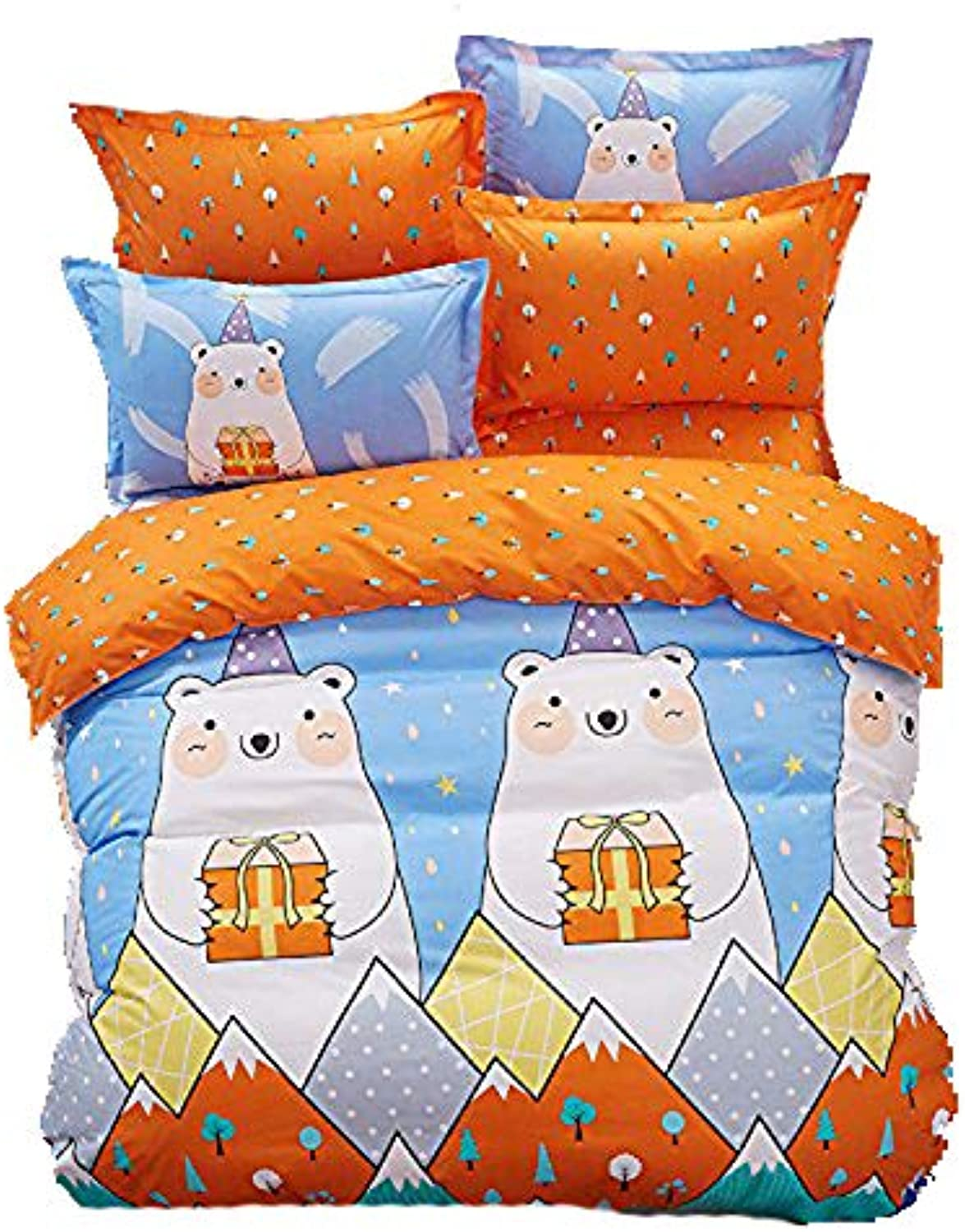 4pcs Bedding Set Duvet Cover Set 100% Combed Cotton Flat Sheet Duvet Cover Pillowcase KY Twin Full Queen Happy Animal Cartoon Design (Queen, Gift Bear, bluee)