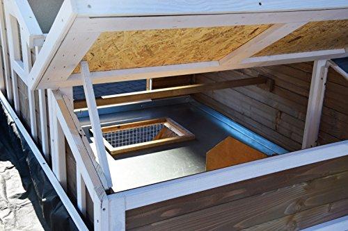 dobar 23033FSC Großer dekorativer Hühnerstall oder Kleintierstall XL mit Freigehege, Pflanzkasten und Legebox, 126 x 128 x 143 cm, weiß-braun-schwarz - 10