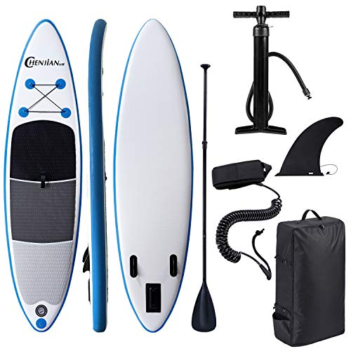 Inflatable Stand Up Paddle Board 10#039×30quot×6quot for All Skill Levels with Premium SUP Accessories amp Adjustable PaddleDouble Action PumpISUP Travel Backpack Leash for Surfing Yoga Standing Boat Fishing