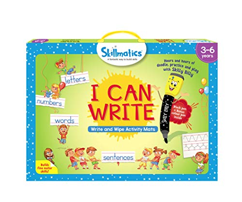 Skillmatics Educational Game: I Can Write (3-6 Years) | Erasable and Reusable Activity Mats with 2 Dry Erase Markers | Learning Tools for Boys and...