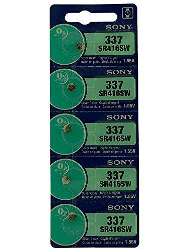 Sony Batería Del Reloj, 1.55V, óxido plata, Pila de Botón 1 Tira de 5 Baterías, Varios Modelos, 0% Mercury, Tiempo De Caducidad Largo, 377, 364, 371, 379, 394, 392, 384, 373, 399, 395, 362, 317, 397