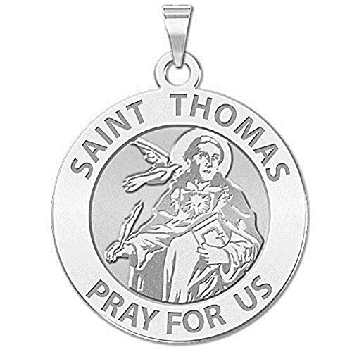 PicturesOnGold.com Saint Thomas Aquinas Religious Medal - 3/4 Inch Size of a Nickel -Sterling Silver