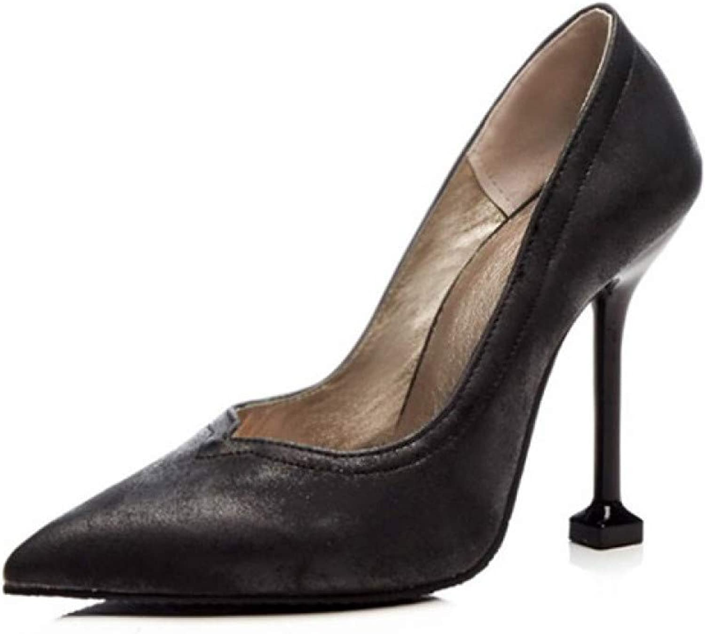 PINGXIANNV Retro Frauen Pumps High Heels Heels Heels Schuhe Frühling Plus Größe Einzelne Frauen Kleid Schuhe Dünne Fersen Spitz Partei Pumpt  c99c98
