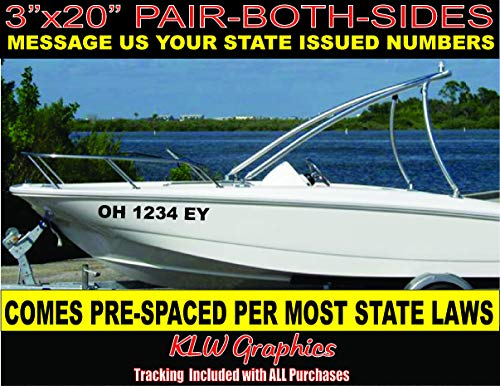 """3"""" x 20"""" Pair Boat Registration Number Vinyl Lettering Decal Sticker Hull ID"""