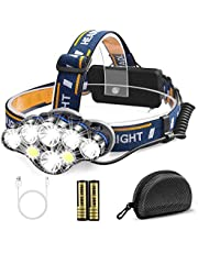 Migimi Pannlampa USB uppladdningsbar LED, pannlampa superljus 8 lägen 13 000 lumen pannlampa med rött varningsljus belysning, vattentäta pannlampor för camping, fiske, joggning, vandring etc