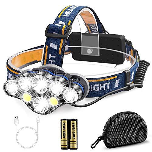 Migimi Linterna Frontal Alta Potencia, Lámpara de cabeza 13000 Lúmenes USB Recargable Led Linternas 8 Modos, IPX4 Impermeable Luz Frontal Cabeza para Casco, Senderismo, Bicicleta, Camping y Caza