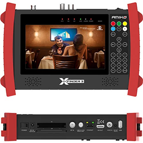 Amiko X-Finder 3 HD DVB-S/S2 + C/T/T2 Satfinder Sat Finder Messgerät Akku LCD Display HDMI Ton Bedienungsanleitung tragbar
