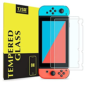 Nintendo Switch Screen Protector TJS [Tempered Glass] [2-Piece] [Works While Docking] - 0.3mm Thickness/Bubble Free/Ultra Clear/9H Hardness/Anti-Scratch/Shatterproof/Anti-Fingerprint