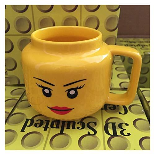 WUHUAROU Taza de cerámica de 250 ml, Taza Lego, expresión de Sonrisa, Cara, Dibujos Animados, café, Leche, Taza de té, Linda Taza para Beber, niños (Color : Smiling Girl)