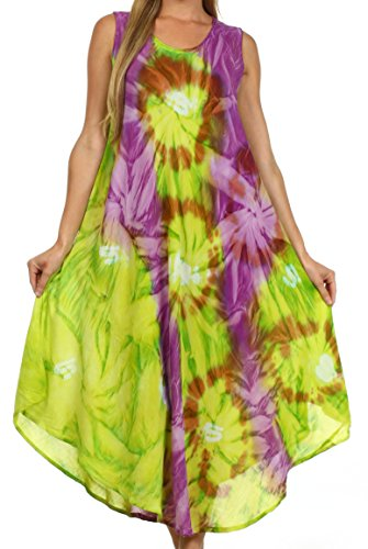 Sakkas 00831- Sternlicht-Kaftan-Behälter-Kleid/vertuschen-grün/lila-One Size