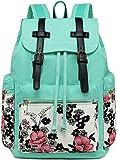 Canvas Backpack Women College Backpacks Vintage Travel Rucksack Girls School Bookbag Floral 15.6 inches Laptop Backpack (Blue Flower)