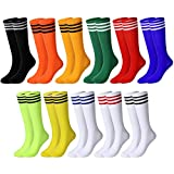 11 Pairs Colored Knee Tube Socks Triple Stripe High Socks Women Teens Knee Tube Socks Neon Color High Sport Stocking
