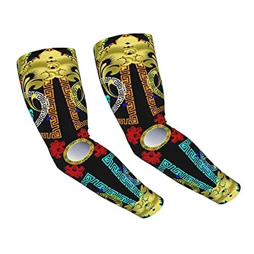 Nicegift Mangas de brazo de compresión de enfriamiento de verano geométricas coloridas griegas para hombres y mujeres,protección UV,mangas de sol transpirables para ciclismo,golf,pesca (1 par)