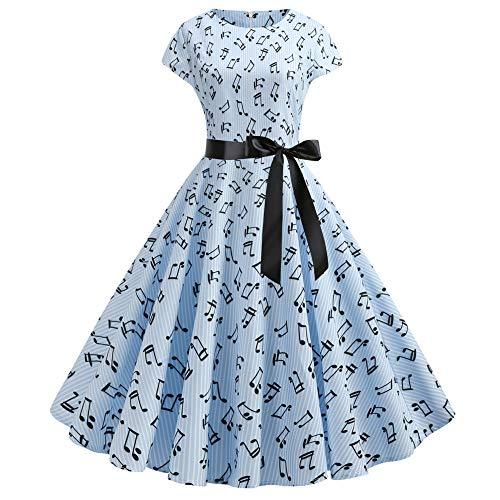 Summer Waistband Style Big Swing Note Print Dress Blue
