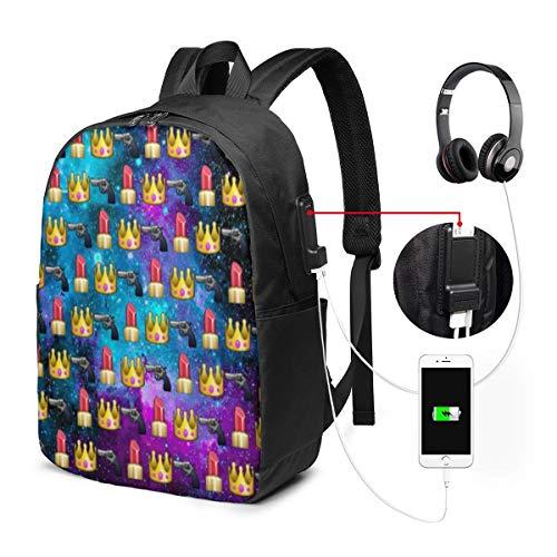 Laptop-Rucksack für Reisen, Diebstahlschutz, Rucksack, Schulrucksack, Lippenstift, Krone, Emojis,...