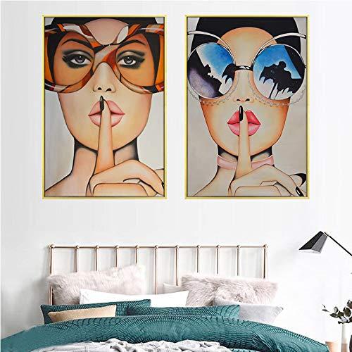 Gymqian Gafas de Moda Chica Impresión de Lienzo Imágenes artísticas de Pared Póster de Mujer e Impresiones Tienda de Hotel Moderna Decoración del hogar Mural 40x50cmx2 Sin Marco