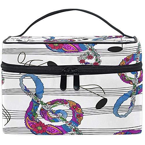 Toilettas voor op reis Music Note Flower Toiletry Make-up tas Tote Case Organizer opslag voor vrouwen meisjes