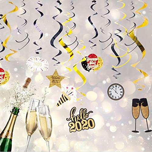 US Warehouse - Party DIY Decorations - 30PCS Hello 2021 Hanging Swirl Decoration Kit Black and Gold Happy New Year Spiral Streamers Swirl Garland Holiday Party Supplie