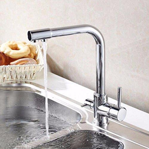 MulFaucet Frío y calor cocina purificador de agua de doble uso grifo fregadero grifo giratorio efluente.