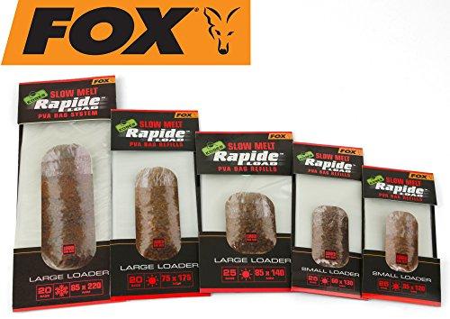 FOX Edges Rapide Refills Slow Melt - PVA Beutel zum Anfüttern, wasserlösliche Taschen für Grundfutter, Futterbeutel zum Angeln, Größe/Packungsinhalt:75x175mm - 20 Stück