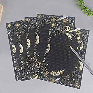 8 Pcs/set Vintage Gilding Feather Star Letter Paper Set Stationary Writing Gift Letters Wedding Mini Envelopes for Invitat...
