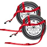 BANG4BUCK 2 Pieces Universal Adjustable Tie Down Tow Dolly Basket Straps for Demco Kar Kaddy Dollys with 2 Flat Hooks (Red-Rachet Strap)