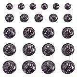 PandaHall Elite 30 botones redondos de aleación de bronce de 5 tamaños con vástago de calavera, planos, con 1 agujero, juego de botones para chaqueta, trajes de deporte, chaqueta y pantalones vaqueros