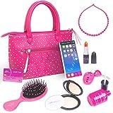 PixieCrush Pretend Play Kid Purse Set for Girls with Handbag, Pretend Smart Phone, Keys with Remote, Pretend Makeup, Lipstick – Interactive & Educational Toy (pink polka dot)