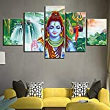Cuadros Modernos Impresión De Imagen Artística Digitalizada Cascadas De Lord Shiva Lienzo Decorativo para Salón O Dormitorio 5 Piezas XXL