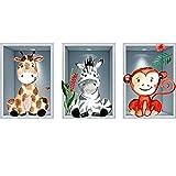 Animales y plantas de la selva Pegatinas de pared para niños Dormitorio 3D Habitación infantil Pegatinas de vinilo Sala de estar