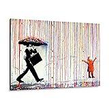 Giallobus - Giallopanel Art Board - Banksy - Lluvia de Colores - Madera de MDF - 42X29,7