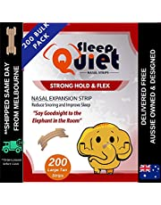 Sleep Quiet Clear Nasal Strips Premium Natural Drug Free Anti Snore Solution | Stop Snoring Aid Breathe Right sleep better all night Anti Snore (200 Tan Large)