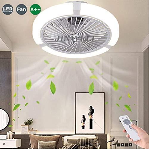 Fan Deckenleuchte LED Deckenventilator Mit Beleuchtung Windgeschwindigkeit Dimmbar Fernbedienung Ventilator Licht Deckenlampe Modern Ultra-Leise Kann Timing Kronleuchter Esszimmer Schlafzimmer, Weiß