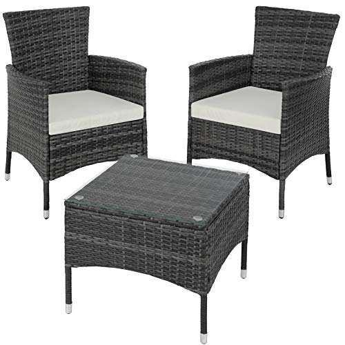 TecTake Poly Rattan Garden Set | 2 Chairs and Small Table with Glass top | Robust Steel Frame - Different Colours - (Grey | No. 402864)