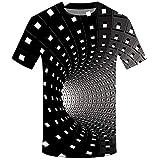 MIRRAY Mode pour des Hommes 3D Impression Rond Cou Court Manche Chemise Haut Chemisier Noir M